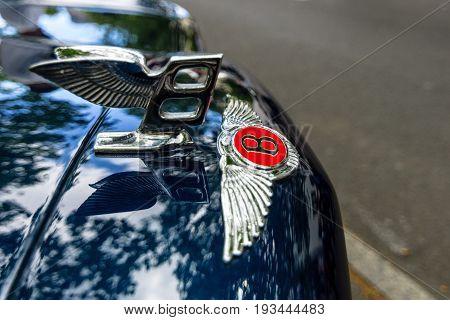 BERLIN - JUNE 17 2017: Bentley's hood ornament. Close-up. Classic Days Berlin 2017.