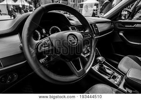 BERLIN - JUNE 17 2017: Interior of a full-size SUV Skoda Kodiaq 2016. Black and white. Classic Days Berlin 2017.