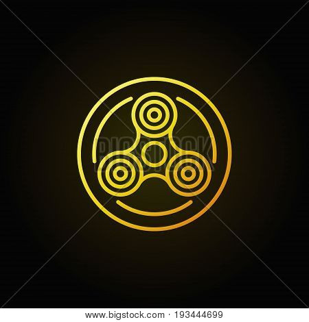 Fidget spinner in circle yellow icon. Vector thin line hand-spinner concept colorful sign on dark background