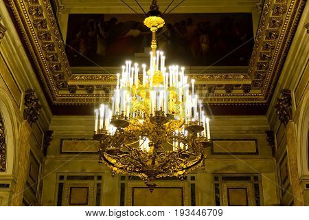 Photo of chandelier in Russian orthodoxy cathedral temple