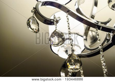 close up of a classic luxury lamp with crystal decoration