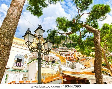 Scenic view of Positano, beautiful Mediterranean village on Amalfi Coast at Campania, Italy