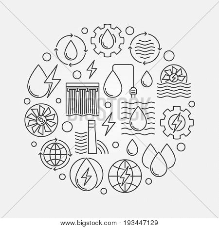 Hydropower concept circular illustration made with electricity and energy outline icons