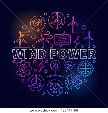 Wind power outline colorful illustration. Vector round green energy concept symbol made with thin line wind turbine icons on dark background