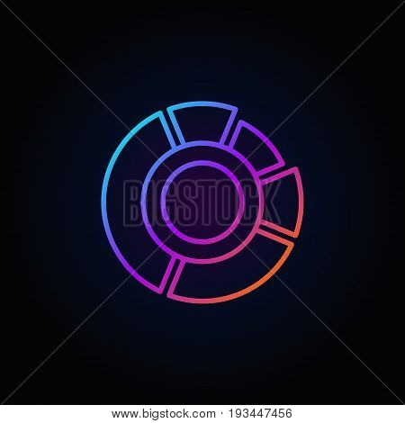 Colorful pie chart icon - vector linear circle diagram concept symbol or logo element on dark background