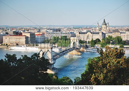 Budapest Hungary Europe - Chain bridge over Danube river panoramic view