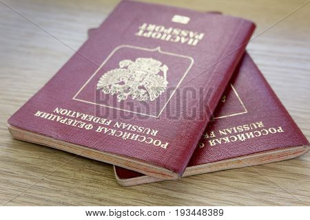 Two passports of citizens of the Russian Federation, on the table