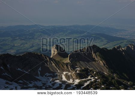 View from Mount Santis Appenzell Canton. Ohrli and hills.