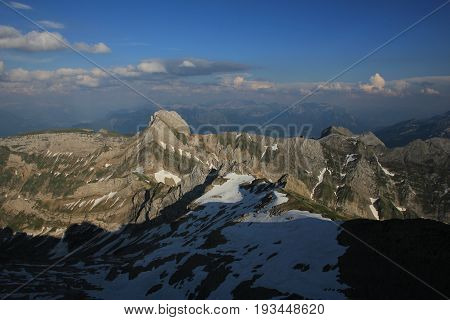 Evening scene in Appenzell. Mountains of the Alpstein Range seen from Mount Santis.