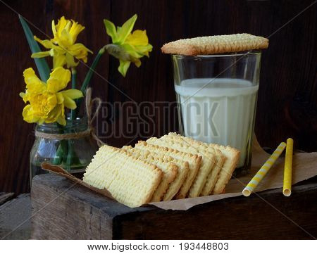 Rectangular Shortbread Biscuit And Glass Of Milk On Wooden Background. Homemade Cookies. Space For T