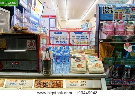 SEOUL, SOUTH KOREA - CIRCA MAY, 2017: goods on display at 7-Eleven convenience store. 7-Eleven is an international chain of convenience stores.