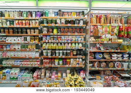 SEOUL, SOUTH KOREA - CIRCA MAY, 2017: inside 7-11 convenience store sign. 7-Eleven is an international chain of convenience stores.
