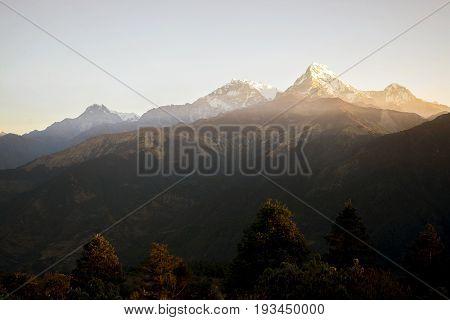 Mountain range in the morning Himalayas in Nepal