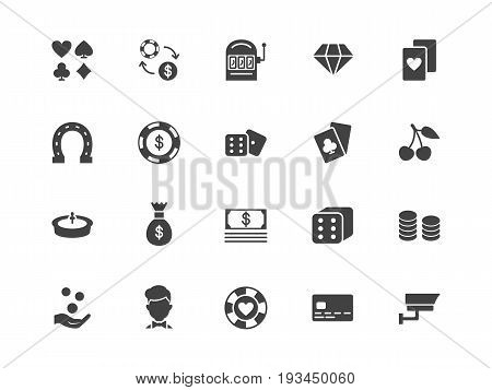 Casino black color silhouettes vector icons set