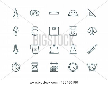 Measuring tools set of vector icons linear style