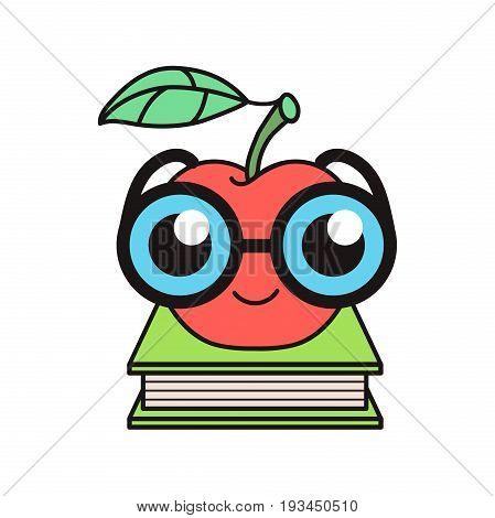 Curious nerdy red apple in glasses on a book pedestal. Education logo. Geeky fruit character. School college university mascot. Intellectual quiz logotype.Learning symbol.Brain training game emblem.