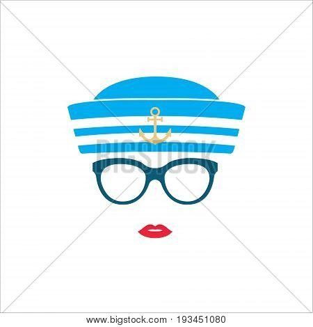 Sailor girl in blue striped hat. vector illustration.