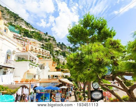 Positano, Italy - September 11, 2015: The people going at Positano - beautiful Mediterranean village on Amalfi Coast in Campania, Italy on September 11, 2015