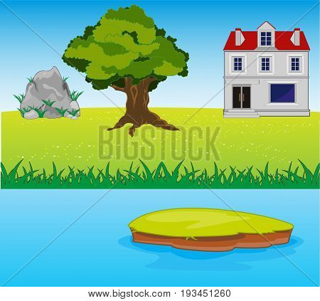 Big house on glade beside yard by summer