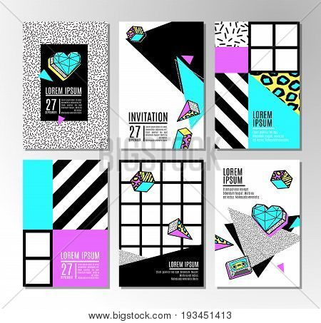 Memphis cards with geometric elements. Set of vector banners in trendy 80s-90s memphis style. Can be used in cover design, book design, advertising, posters and greeting cards.