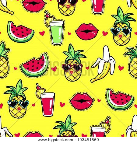 Tropic seamless pattern with pineapple, lips, cocktail, watermelon, banana. Vector background with fashion patches and stickers in cartoon 80s-90s trendy style.