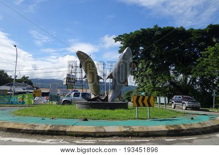 Two Giant Fishes Statue Landmark At Ranau Roundabout