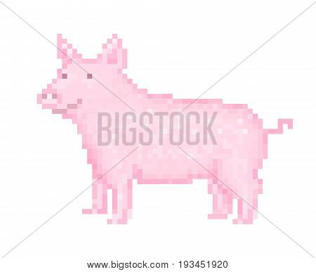 Old school 8 bit pixel art pink pig standing on the ground. Domestic farm animal icon isolated on white background. Piglet symbol. Piggy emblem. Retro video/pc game character. Slot machine graphics.