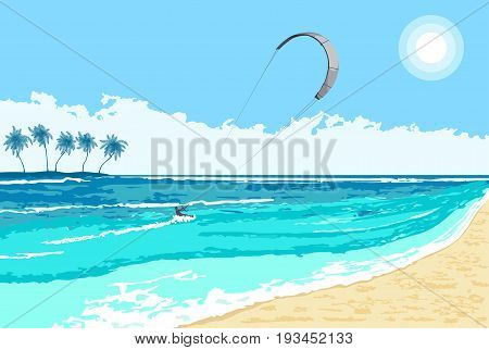 Kitesurfing summer watersport on tropical sea background with island and palms.