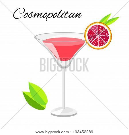 Popular Cosmopolitan cocktail cartoon style. Summer long drink isolated on white for restaurant bar menu or beach party banner and flyer