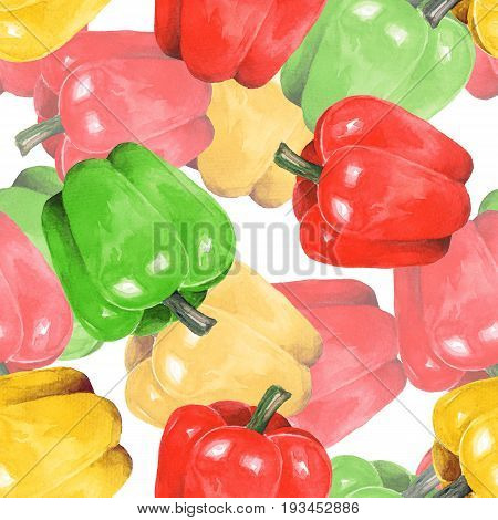 Pepper watercolor. Hand drawn seamless pattern 2