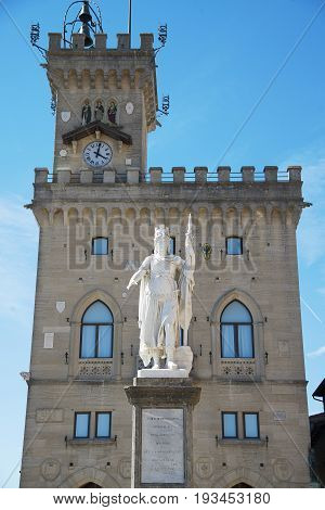 Public Palace and the Statue of Saint Marino City of San Marino Republic of San Marino. San Marino is the oldest constitutional republic in the world: it was founded on 3 September 301.