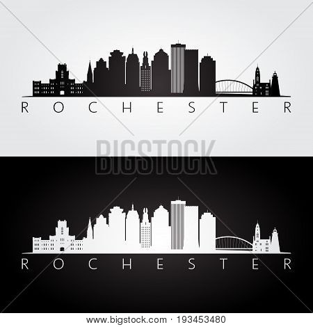 Rochester USA skyline and landmarks silhouette black and white design vector illustration.