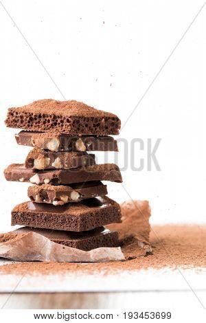 Pyramid of milk chocolate, porous