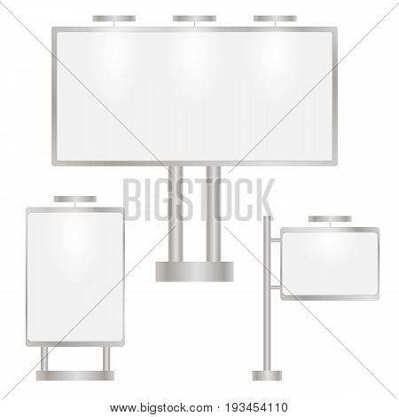A billboard in the open air with a white screen. Set of blank advertising screens. Place for your special offers. Vector illustration.
