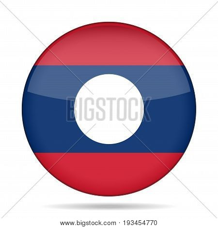National flag of Laos. Shiny round button with shadow.