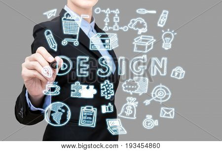 Young Business Woman Writing Design Idea Concept Present By Icon Symbol Element. Elegant Design For