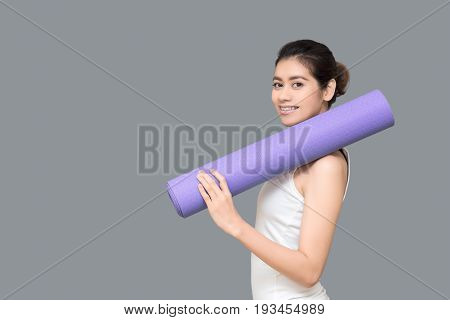 Healthy Woman Ready To Exercise At Sport Gym, Girl Doing Sport Indoor.photo Design For Fitness Sport