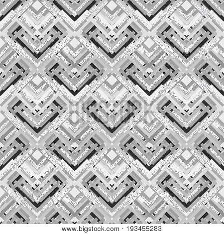 Seamless ornament. Retro art. Memphis design. Avant-garde pattern. Vintage background. Bauhaus backdrop. Black and white graphic. Hipster print. Monochrome wallpaper. Geometry illustration. Vector.