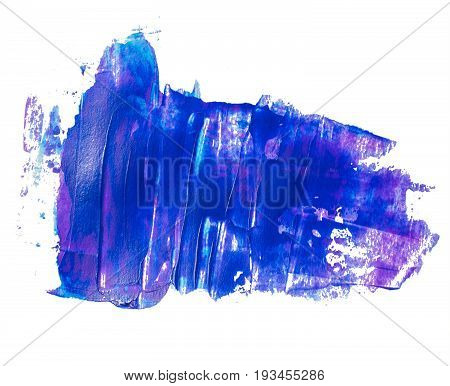 Blue lilac textured acrylic stain. Blue daub paint background