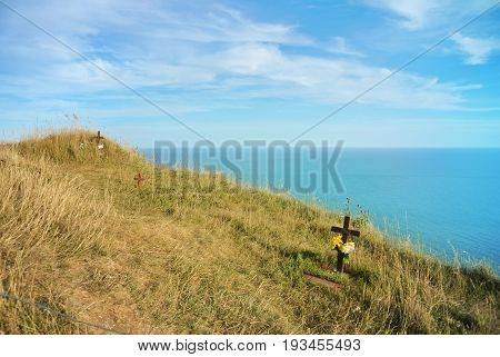 Beachy Head Cliff, The Highest At Seven Sister Country Park And Graves Of Suicides Who Jumped Down A