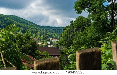 Green Mountains Covered With A Forest And Houses, A Natural Green Landscape With Details Of Wooden F