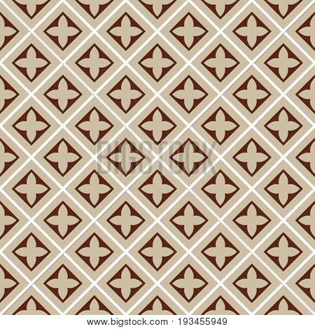 seamless illustration brown beige square tile pattern with cloverleafs and diagonal lines