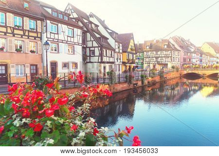 view of canal, Colmar, most famous town of Alsace, France, retro toned