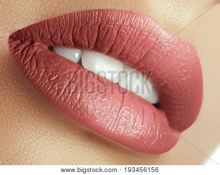 Perfect Natural Lip Makeup. Close Up Macro Photo With Beautiful Female Mouth. Plump Full Lips. Close