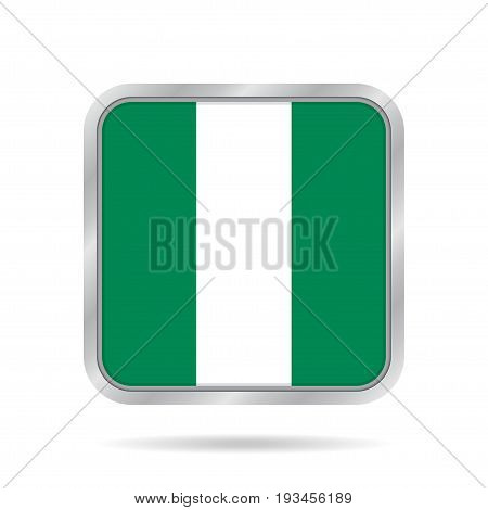 National flag of Nigeria. Shiny metallic gray square button with shadow.