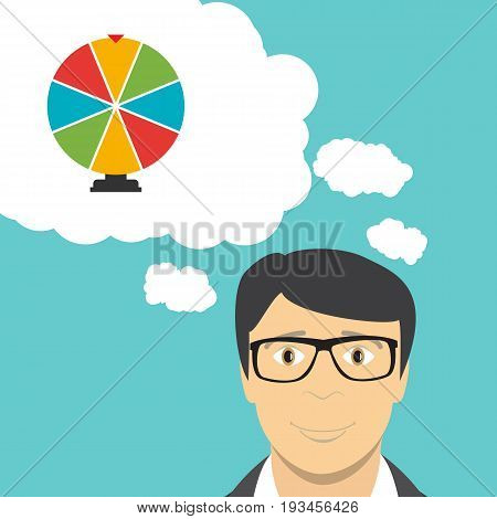 Man Businessman Thinks about Wheel of Fortune, Lucky Icon. Vector Illustration EPS10