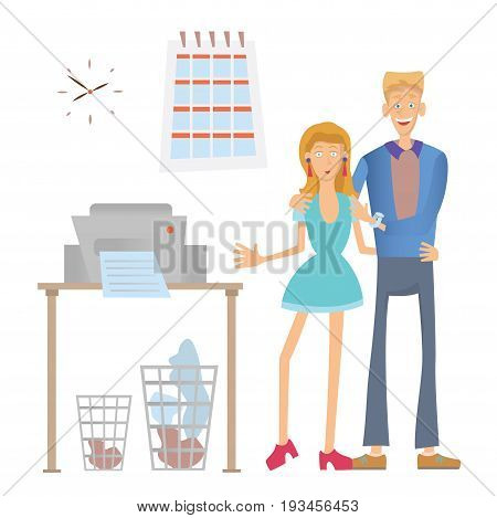 Happy office workers stand at the copier. Man and Woman in the workplace. Vector illustration, isolated on white background.