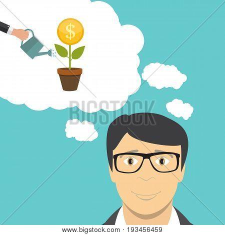 Man Businessman Thinks about Money. Flat Business Concept Vector Illustration EPS10