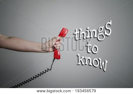 Things to know concept with old red phone