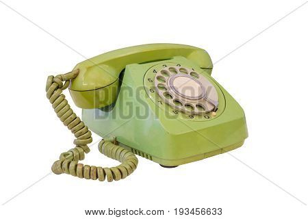 Green retro telephone isolated on white background work with clippimg path.